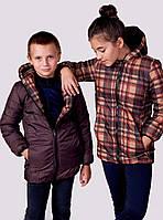 """Детская тёплая удлинённая двухсторонняя куртка 2218-1 """"Барберри Подросток"""""""