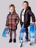 """Детская тёплая удлинённая двухсторонняя куртка 2218 """"Барберри"""""""