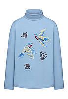 Трикотажная водолазка с принтом и пайетками для девочки, цвет светло-голубой