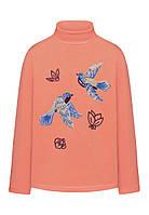 Трикотажная водолазка с принтом и пайетками для девочки, цвет коралловый