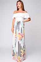 Женское шикарное белое платье в пол с баской