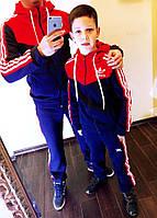 """Детский подростковый тёплый спортивный костюм на байке 4022 """"Адидас Капюшон Вышивка"""""""