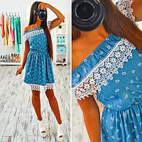 Женское джинсовое платье с кружевом (2 цвета)