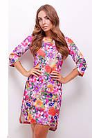 Фиолетовое принтованное платье с разрезами на рукавах и снизу изделия