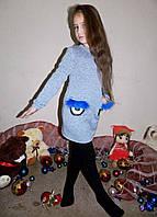 """Детское тёплое платье с кармашками на байке 02 """"Трикотаж Глазки Мех"""""""