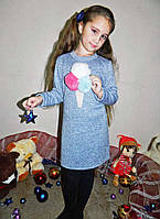 """Детское стильное тёплое платье ангора 06 """"Мороженое Мех"""""""