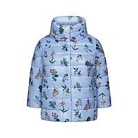 Утепленная куртка с набивным рисунком, цвет светло-голубой