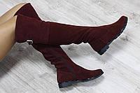 Зимние натуральные замшевые женские сапоги-ботфорты бордовые