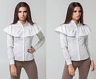 """Стильная женская рубашка 5311 """"Хлопок Полоска Волан"""" в расцветках"""