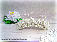 Диадема в свадебную прическу с хрусталя и жемчуга