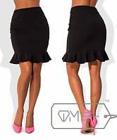 """Стильная женская юбка средней длины 881 """"Креп Волан"""""""