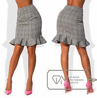 """Женская стильная юбка средней длины 880 """"Жаккард Клетка Волан"""""""