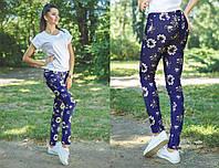 """Летние лёгкие женские джинсы 0255 """"Цветочки"""""""