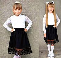 """Стильная детская юбка 3550 """"Габардин Мулине Фатин"""" в школьных расцветках"""