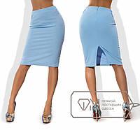 """Стильная женская юбка средней длины 195 """"Креп Миди Разрез Поясок"""" в расцветках"""