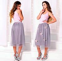 """Стильная пышная женская юбка средней длины 01438 """"Плиссе Атлас Сетка Цветы"""" в расцветках"""