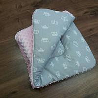 Плед розовый в кроватку или коляску 90×90 (зимний), фото 1