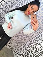 Женский стильный свитер мелкой вязки с бисером у горловины (3 цвета)