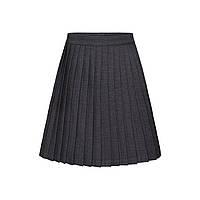 Плиссированная юбка для девочки, цвет темно-серый меланж, фото 1