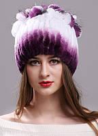Меховая шапка с петлями цвет фиолетово-белый