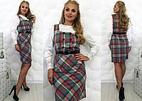 """Стильное женское платье-сарафан в больших размерах 076 """"Пуговка"""""""
