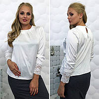 """Элегантная женская блуза в больших размерах 077 """"Гипюр"""""""