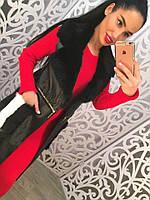Женская стильная кожаная жилетка-кардиган с меховыми карманами и мехом на воротнике