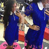 Женское модное кружевное платье с воротничком (2 цвета)