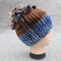 Меховая шапка с петлями цвет коричнево-синий