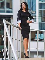 Модное женское деловое черное платье трикотаж р.44