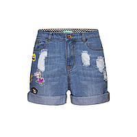 Джинсовые шорты с нашивками «Эмоджи», цвет светло-голубой