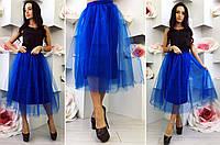 """Элегантная пышная женская юбка средней длины 007 """"Бенгалин Фатин Миди"""" в расцветках"""