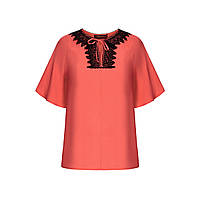 Блузка с кружевом, цвет коралловый, фото 1