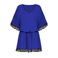 Трикотажная удлиненная блузка, цвет темно-сиреневый, фото 1