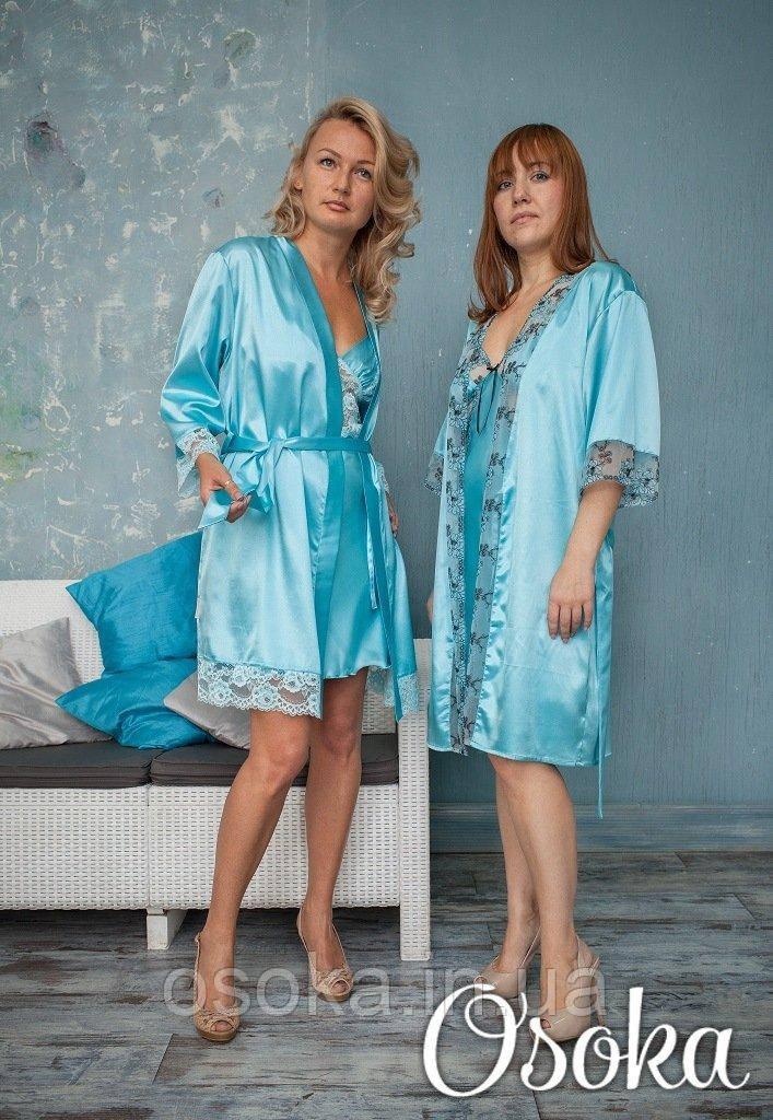 Очаровательная сорочка шелковая с кружевом Serenade (Серенада) 2182 Мятно-голубой