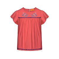 Блузка с принтом для девочки, цвет светло-коралловый, фото 1