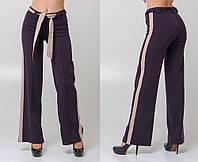"""Стильные женские широкие брюки 5309 """"Клёш Лампасы Пояс Контраст"""" в расцветках"""