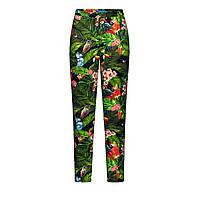 Зауженные брюки с тропическим рисунком, цвет сочно-зеленый, фото 1