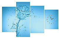 """Часы настенные из четырех модулей """"Ледяная роза"""" полиптих большие-140х90см"""