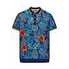 Трикотажное поло «Пике» с тропическим принтом для мужчины, цвет темно-синий