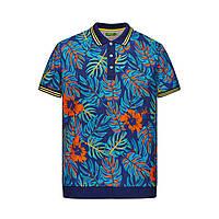 Трикотажное поло «Пике» с тропическим принтом для мужчины, цвет темно-синий, фото 1