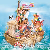 """Салфетка для декупажа """"Мишки-пираты"""", 33*33 см"""