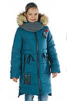 "Зимняя куртка для девочки ""Брилли"" оптом, комплект с хомутом новинка 2017"