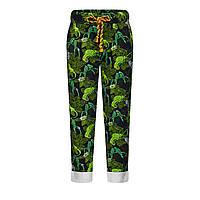 Трикотажные брюки с набивным рисунком для мальчика, цвет зеленый, фото 1