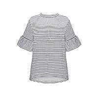 Трикотажная блузка, цвет бело-синий, фото 1