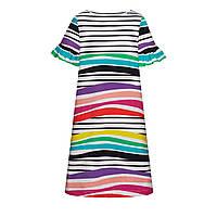Трикотажное платье с набивным рисунком для девочки, цвет мультиколор, фото 1