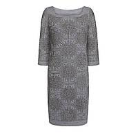 Трикотажное платье с узором из страз, цвет серый меланж