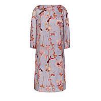 Платье из атласа с принтом и вышивкой из пайеток, цвет лиловый