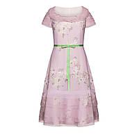 Коктейльное платье из кутюрной органзы, цвет светло-лиловый