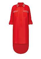 Платье-туника со стразами, цвет красный